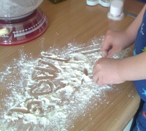 Writing in flour